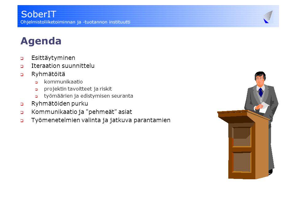 Agenda  Esittäytyminen  Iteraation suunnittelu  Ryhmätöitä  kommunikaatio  projektin tavoitteet ja riskit  työmäärien ja edistymisen seuranta  Ryhmätöiden purku  Kommunikaatio ja pehmeät asiat  Työmenetelmien valinta ja jatkuva parantamien