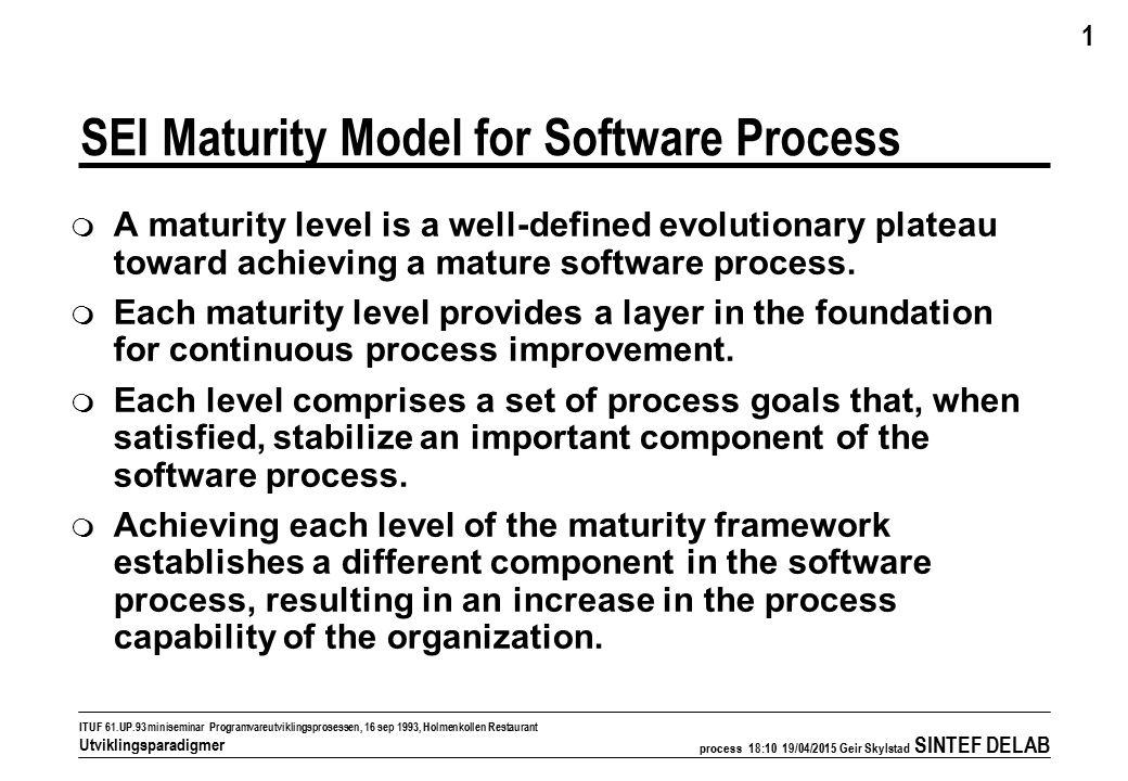 process 18:11 19/04/2015 Geir Skylstad SINTEF DELAB 2 ITUF 61.UP.93 miniseminar Programvareutviklingsprosessen, 16 sep 1993, Holmenkollen Restaurant Utviklingsparadigmer Organization maturity levels (stages) Progreff Initial (1) Repeatable (2) Defined (3) Managed (4) Optimizing (5) Disciplined process Standard, consistent process Predictable process Continuously improving process