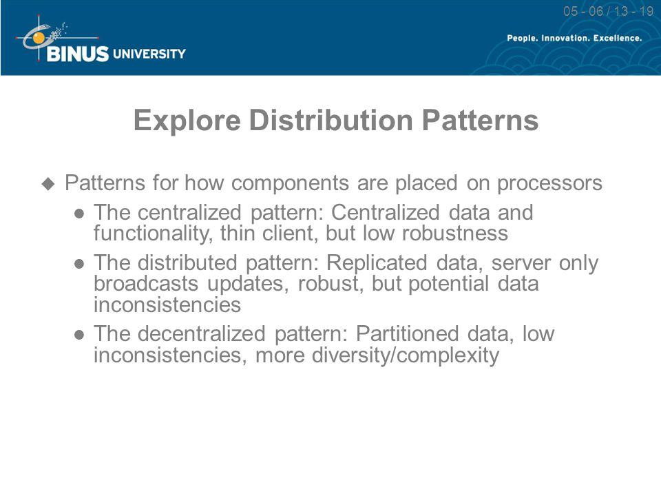 05 - 06 / 13 - 19 Explore Distribution Patterns  Patterns for how components are placed on processors The centralized pattern: Centralized data and f