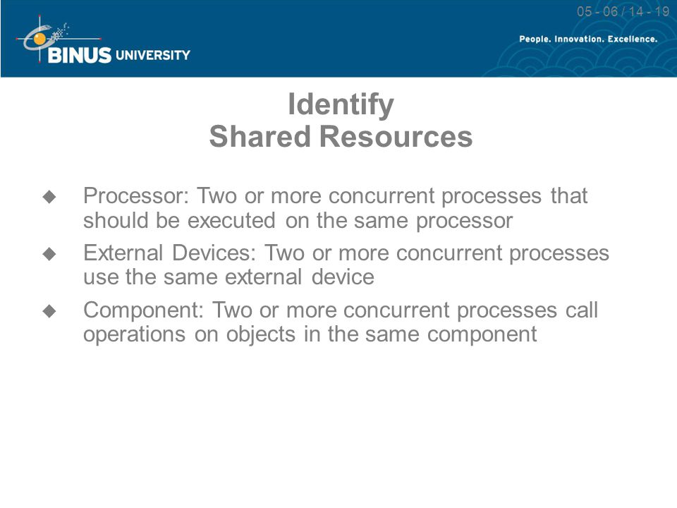 05 - 06 / 14 - 19 Identify Shared Resources  Processor: Two or more concurrent processes that should be executed on the same processor  External Dev