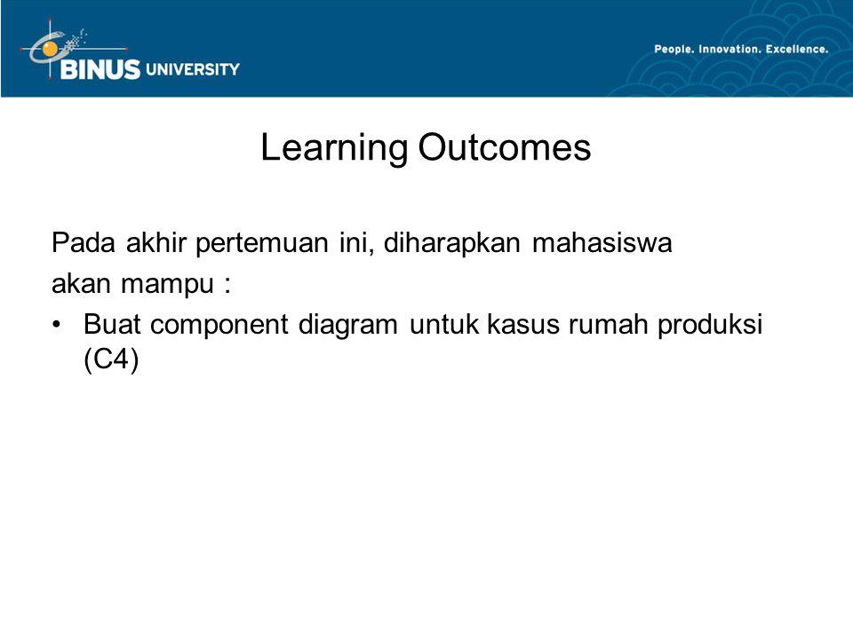 Learning Outcomes Pada akhir pertemuan ini, diharapkan mahasiswa akan mampu : Buat component diagram untuk kasus rumah produksi (C4)