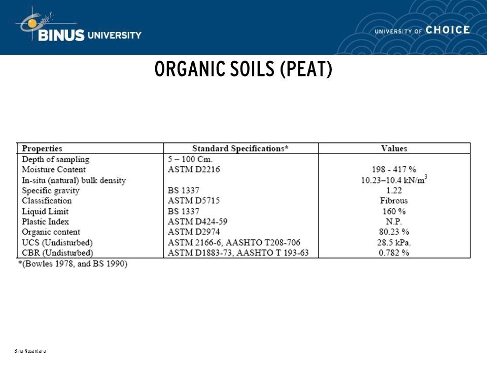 Bina Nusantara ORGANIC SOILS (PEAT)