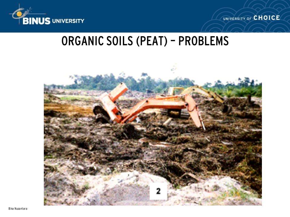 Bina Nusantara ORGANIC SOILS (PEAT) – PROBLEMS