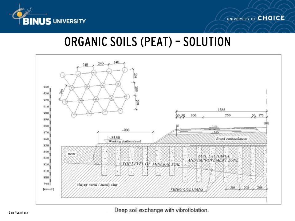 Bina Nusantara ORGANIC SOILS (PEAT) – SOLUTION