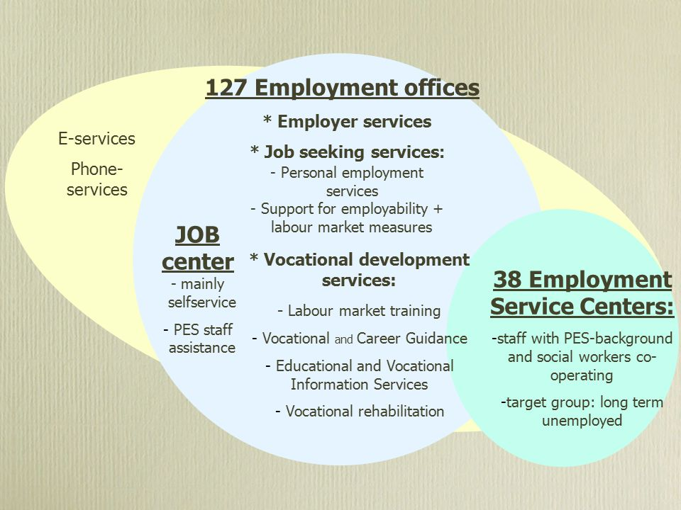 38 Employment Service Centers: -staff with PES-background and social workers co- operating -target group: long term unemployed 127 Employment offices * Employer services * Job seeking services : - Personal employment services - Support for employability + labour market measures JOB center - mainly selfservice - PES staff assistance * Vocational development services: - Labour market training - Vocational and Career Guidance - Educational and Vocational Information Services - Vocational rehabilitation E-services Phone- services
