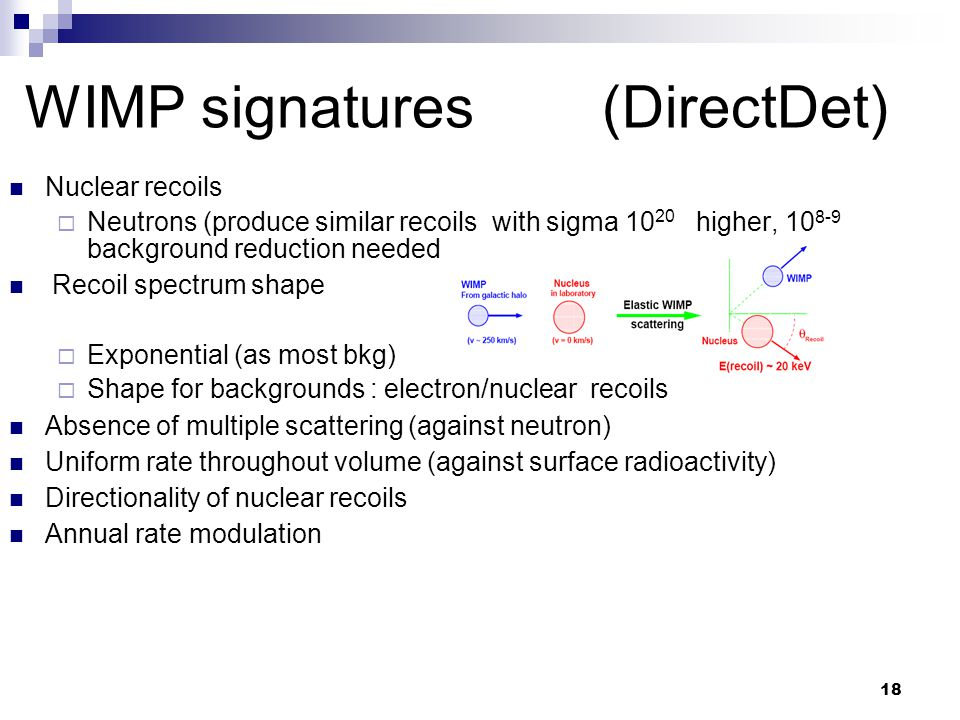 18 WIMP signatures (DirectDet) Nuclear recoils  Neutrons (produce similar recoils with sigma 10 20 higher, 10 8-9 background reduction needed Recoil spectrum shape  Exponential (as most bkg)  Shape for backgrounds : electron/nuclear recoils Absence of multiple scattering (against neutron) Uniform rate throughout volume (against surface radioactivity) Directionality of nuclear recoils Annual rate modulation