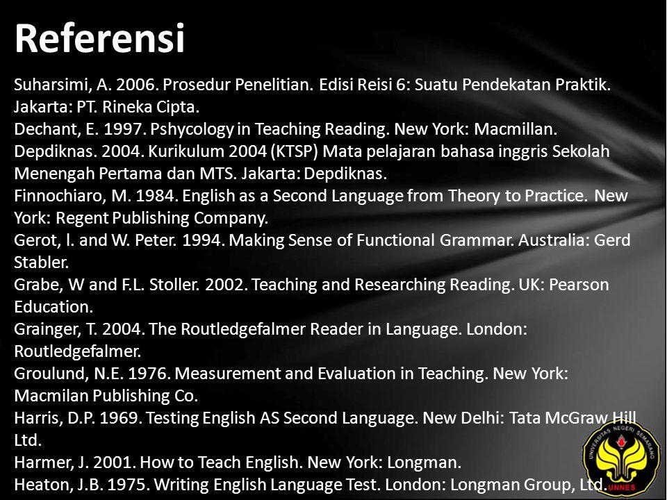 Referensi Suharsimi, A. 2006. Prosedur Penelitian.