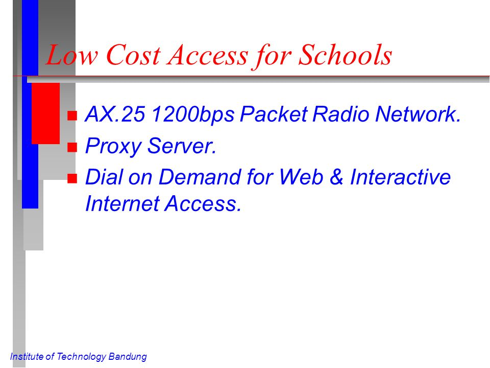 Institute of Technology Bandung Low Cost Access for Schools n AX.25 1200bps Packet Radio Network. n Proxy Server. n Dial on Demand for Web & Interacti