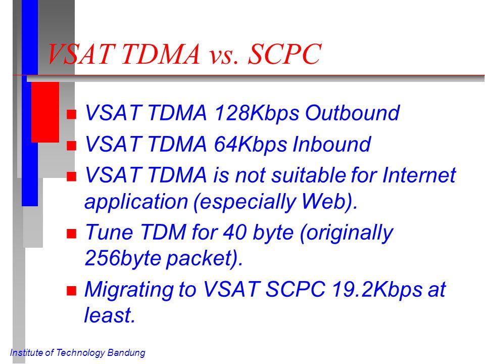 VSAT TDMA vs. SCPC n VSAT TDMA 128Kbps Outbound n VSAT TDMA 64Kbps Inbound n VSAT TDMA is not suitable for Internet application (especially Web). n Tu