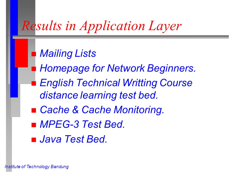 Results in Application Layer n Mailing Lists n Homepage for Network Beginners.