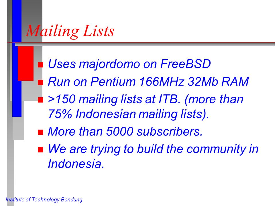 Institute of Technology Bandung Mailing Lists n Uses majordomo on FreeBSD n Run on Pentium 166MHz 32Mb RAM n >150 mailing lists at ITB. (more than 75%