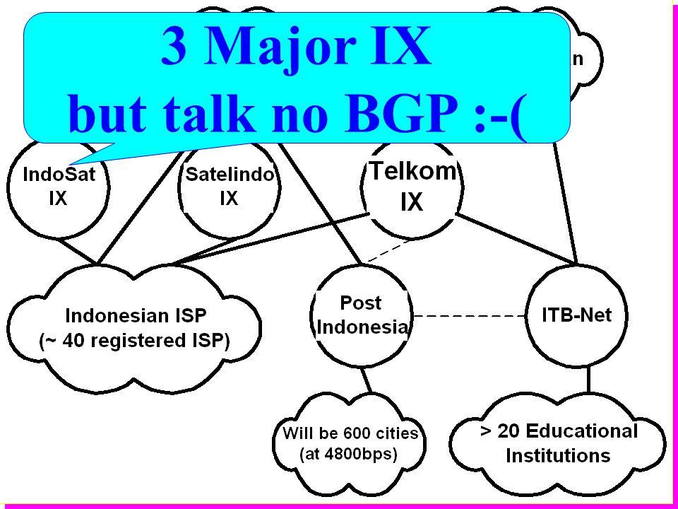3 Major IX but talk no BGP :-(