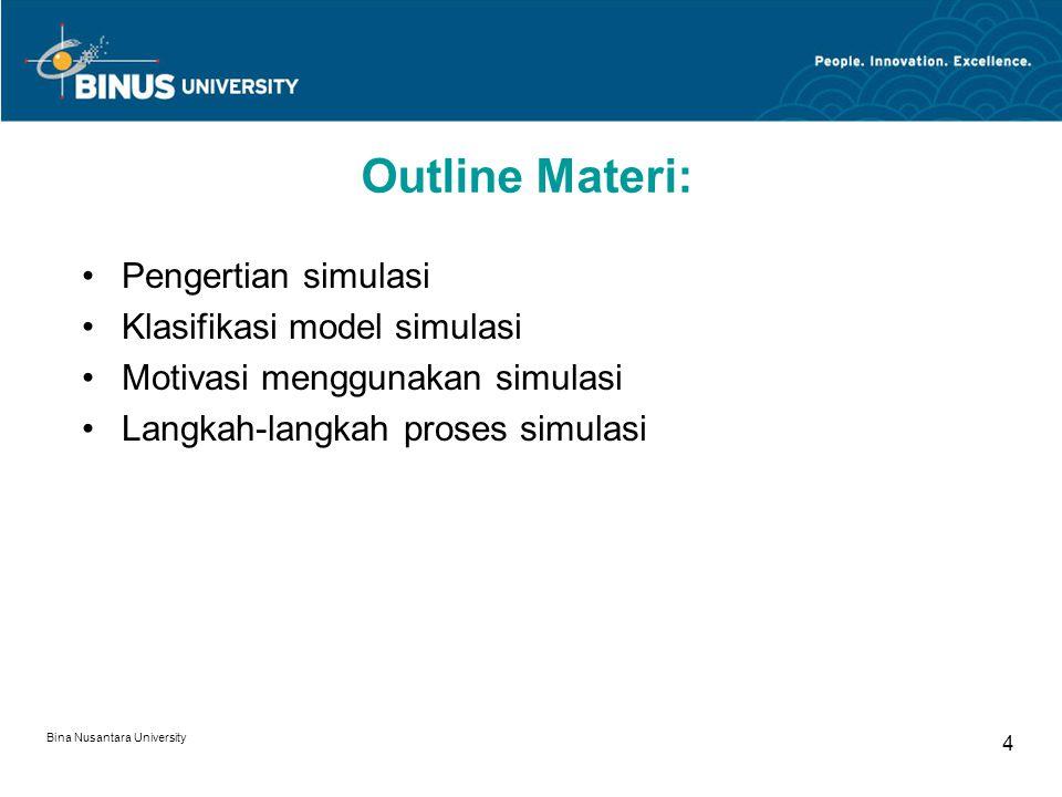 Bina Nusantara University 4 Outline Materi: Pengertian simulasi Klasifikasi model simulasi Motivasi menggunakan simulasi Langkah-langkah proses simulasi