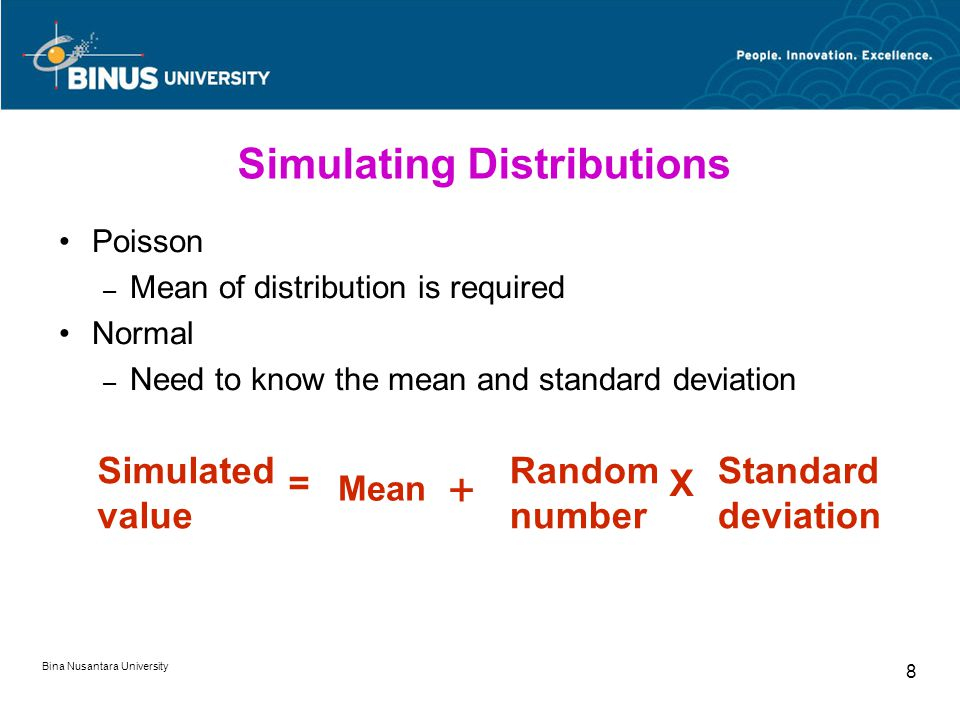 Bina Nusantara University 8 Simulating Distributions Poisson – Mean of distribution is required Normal – Need to know the mean and standard deviation Simulated value Mean Random number Standard deviation + X=