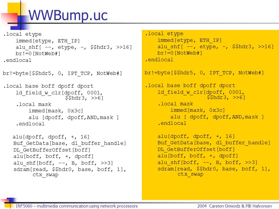 2004 Carsten Griwodz & Pål HalvorsenINF5060 – multimedia communication using network processors WWBump.uc.local etype immed[etype, ETH_IP] alu_shf[ --