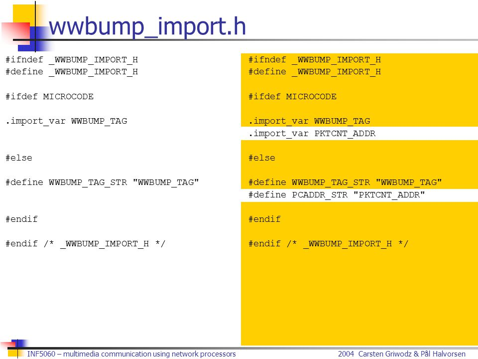 2004 Carsten Griwodz & Pål HalvorsenINF5060 – multimedia communication using network processors wwbump_import.h #ifndef _WWBUMP_IMPORT_H #define _WWBUMP_IMPORT_H #ifdef MICROCODE.import_var WWBUMP_TAG #else #define WWBUMP_TAG_STR WWBUMP_TAG #endif #endif /* _WWBUMP_IMPORT_H */ #ifndef _WWBUMP_IMPORT_H #define _WWBUMP_IMPORT_H #ifdef MICROCODE.import_var WWBUMP_TAG.import_var PKTCNT_ADDR #else #define WWBUMP_TAG_STR WWBUMP_TAG #define PCADDR_STR PKTCNT_ADDR #endif #endif /* _WWBUMP_IMPORT_H */