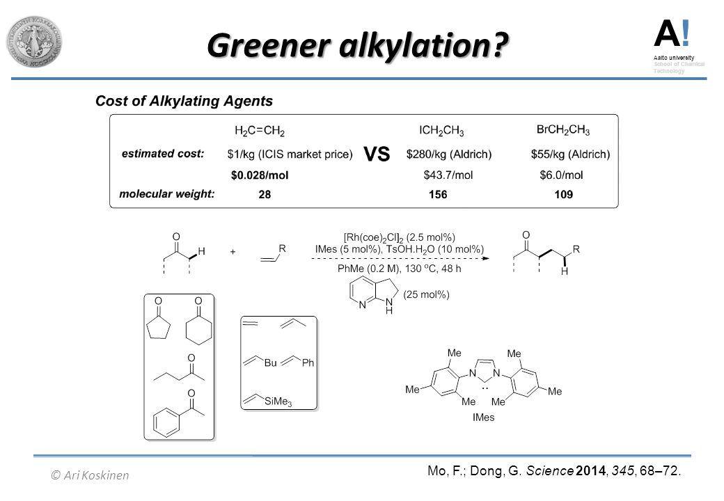 A.Aalto university School of Chemical Technology © Ari Koskinen Greener alkylation.