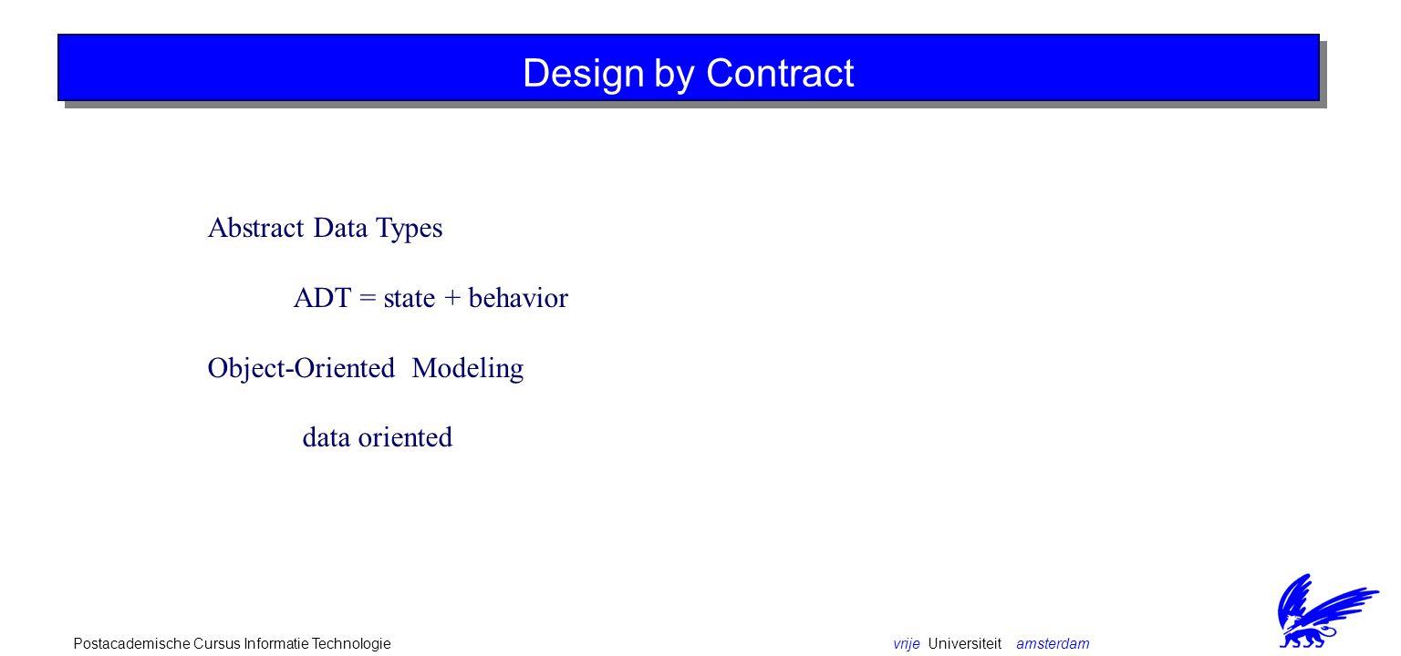 vrije Universiteit amsterdamPostacademische Cursus Informatie Technologie Design by Contract Abstract Data Types ADT = state + behavior Object-Oriented Modeling data oriented