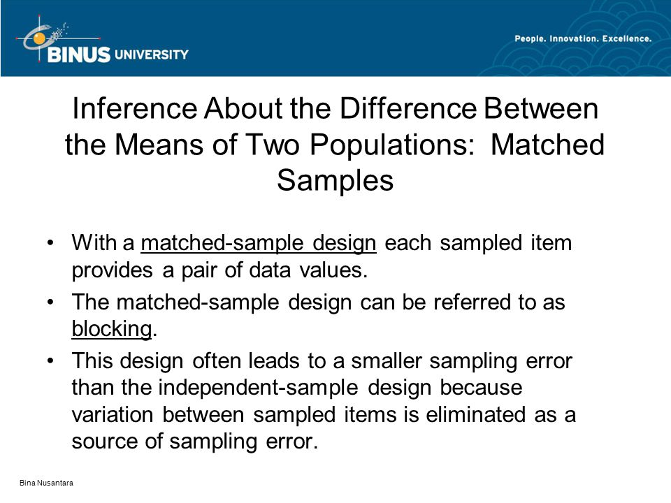 Bina Nusantara Inference About the Difference Between the Means of Two Populations: Matched Samples With a matched-sample design each sampled item pro