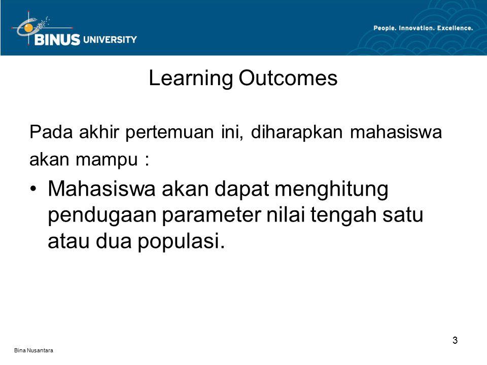 Bina Nusantara Learning Outcomes 3 Pada akhir pertemuan ini, diharapkan mahasiswa akan mampu : Mahasiswa akan dapat menghitung pendugaan parameter nilai tengah satu atau dua populasi.