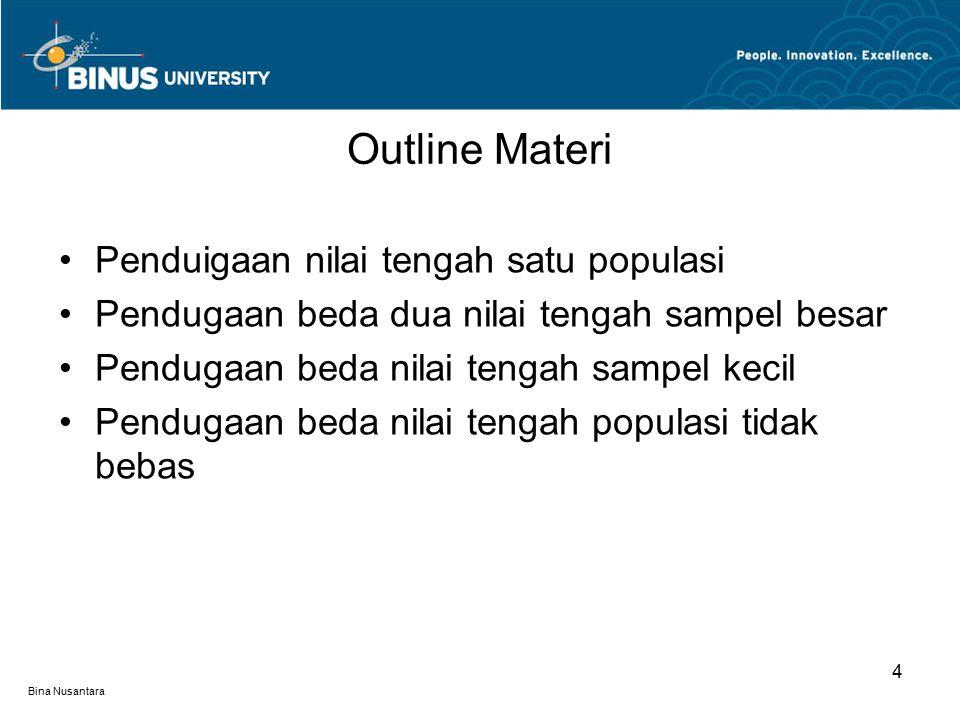 Bina Nusantara Outline Materi 4 Penduigaan nilai tengah satu populasi Pendugaan beda dua nilai tengah sampel besar Pendugaan beda nilai tengah sampel kecil Pendugaan beda nilai tengah populasi tidak bebas