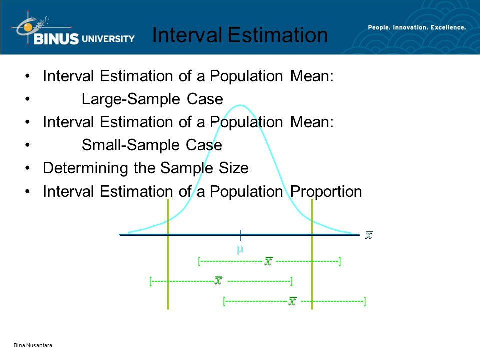 Bina Nusantara [--------------------- ---------------------]  Interval Estimation Interval Estimation of a Population Mean: Large-Sample Case Interval Estimation of a Population Mean: Small-Sample Case Determining the Sample Size Interval Estimation of a Population Proportion