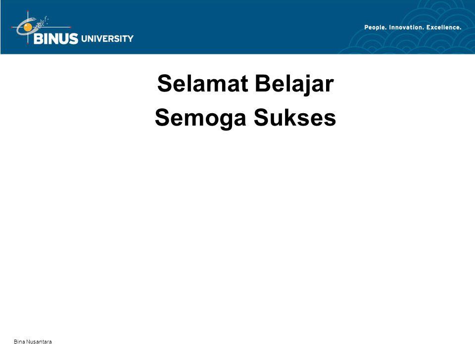 Bina Nusantara Selamat Belajar Semoga Sukses