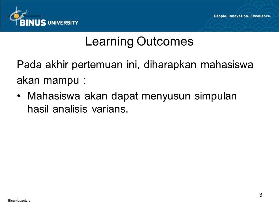 Bina Nusantara Learning Outcomes 3 Pada akhir pertemuan ini, diharapkan mahasiswa akan mampu : Mahasiswa akan dapat menyusun simpulan hasil analisis varians.