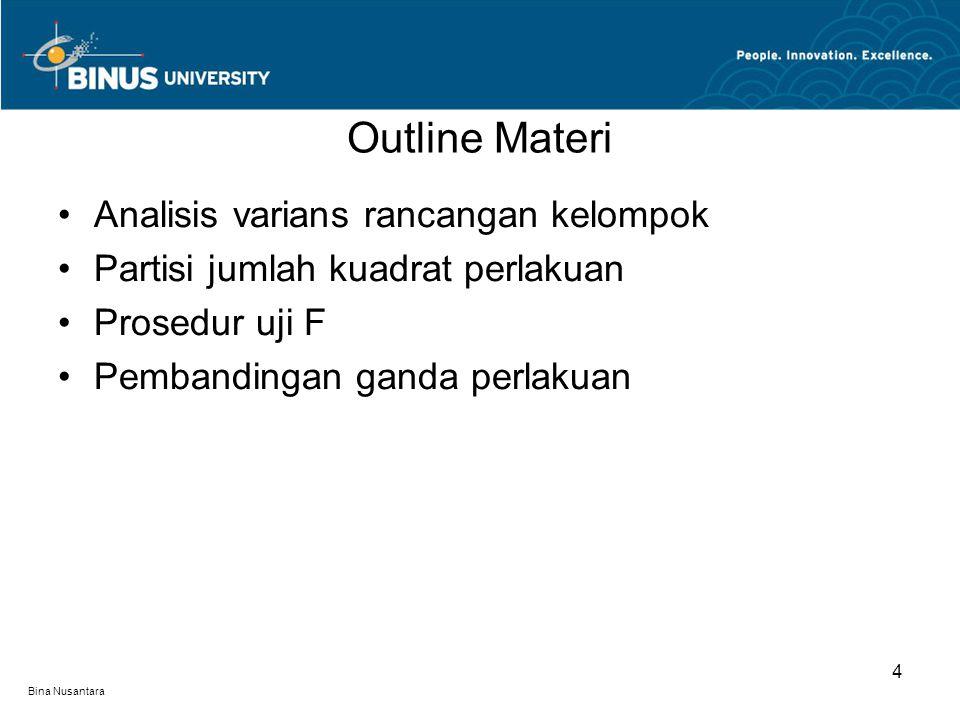 Bina Nusantara Outline Materi 4 Analisis varians rancangan kelompok Partisi jumlah kuadrat perlakuan Prosedur uji F Pembandingan ganda perlakuan