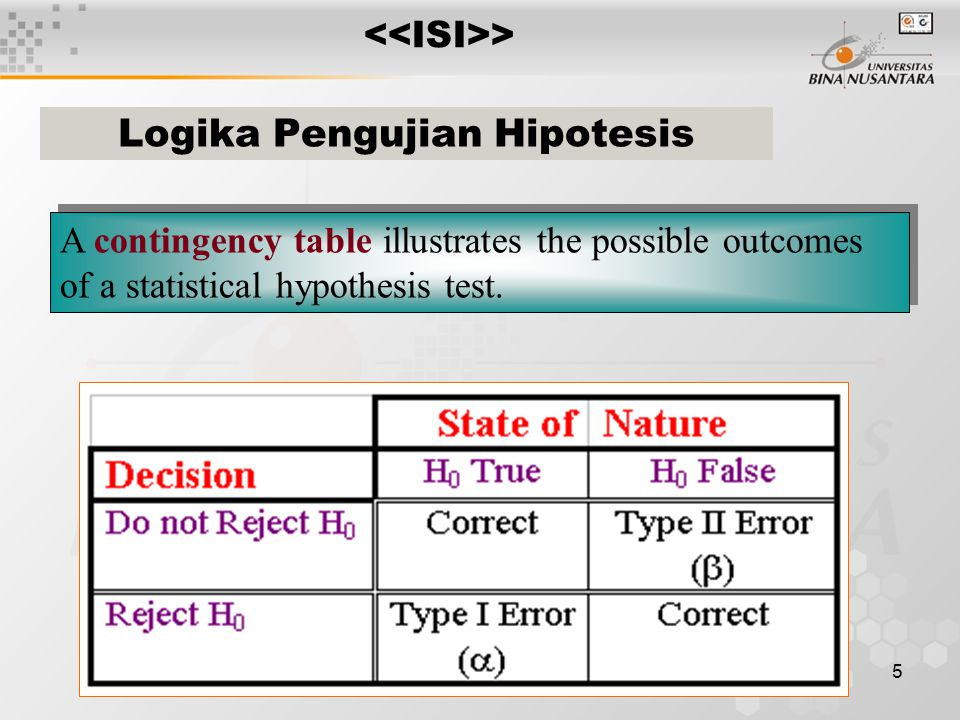 5 A contingency table illustrates the possible outcomes of a statistical hypothesis test.