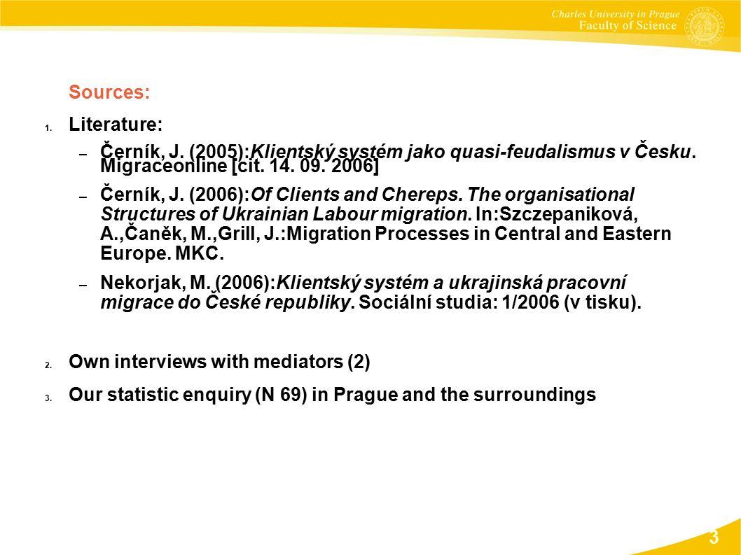 Sources: 1. Literature: – Černík, J. (2005):Klientský systém jako quasi-feudalismus v Česku.