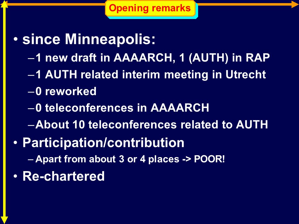 Opening remarks since Minneapolis: –1 new draft in AAAARCH, 1 (AUTH) in RAP –1 AUTH related interim meeting in Utrecht –0 reworked –0 teleconferences in AAAARCH –About 10 teleconferences related to AUTH Participation/contribution –Apart from about 3 or 4 places -> POOR.
