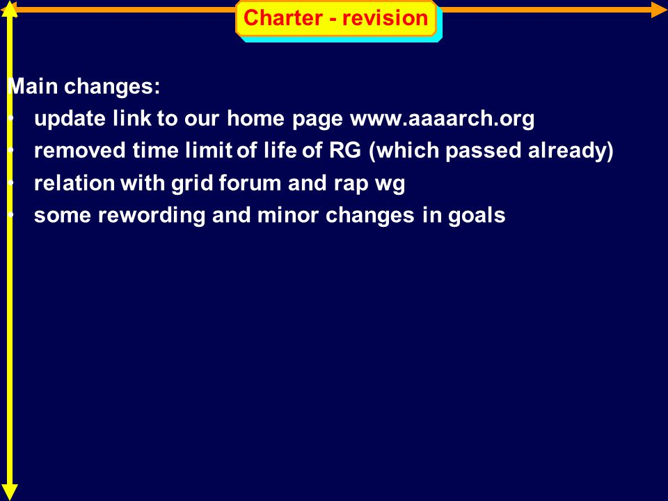 Charter - revision Main changes: update link to our home page www.aaaarch.org removed time limit of life of RG (which passed already) relation with gr