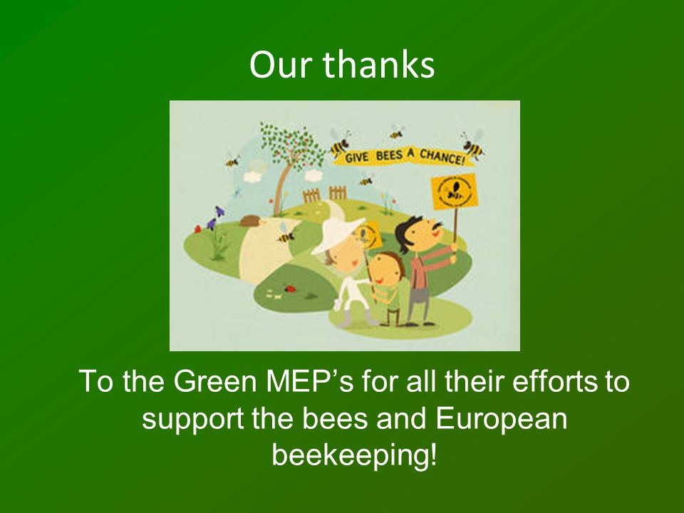 Our thanks To the Green MEP's for all their efforts to support the bees and European beekeeping!