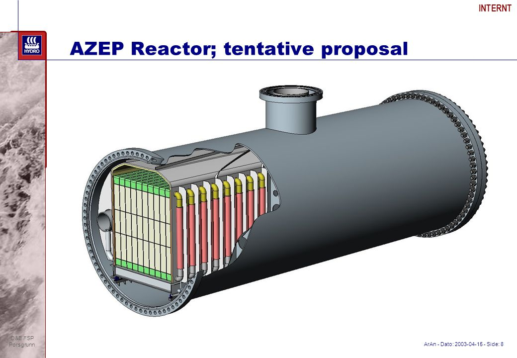 ArAn - Dato: 2003-04-15 - Side: 8 INTERNT O&E FSP Porsgrunn AZEP Reactor; tentative proposal