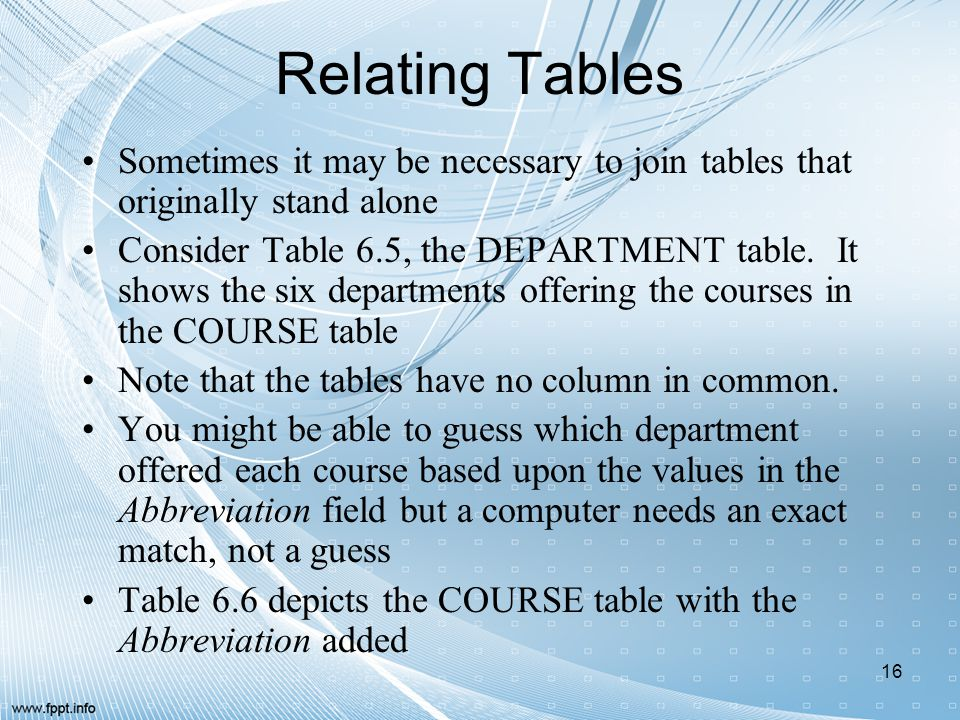 Relating Tables Sometimes it may be necessary to join tables that originally stand alone Consider Table 6.5, the DEPARTMENT table. It shows the six de