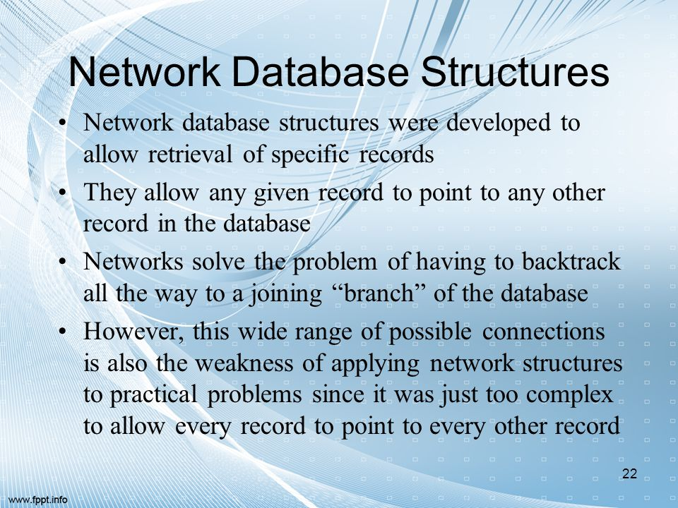 Network Database Structures Network database structures were developed to allow retrieval of specific records They allow any given record to point to