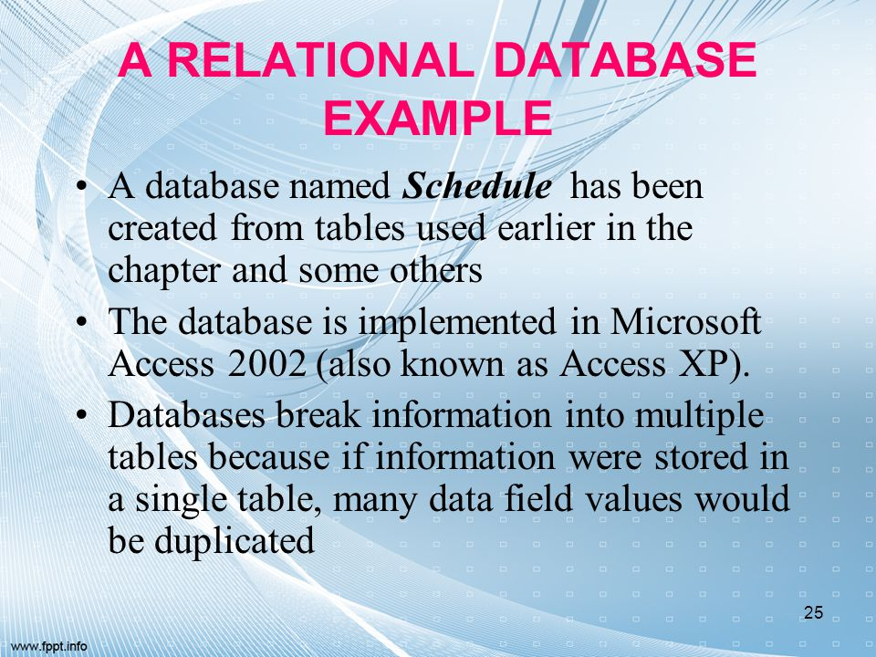A RELATIONAL DATABASE EXAMPLE A database named Schedule has been created from tables used earlier in the chapter and some others The database is imple