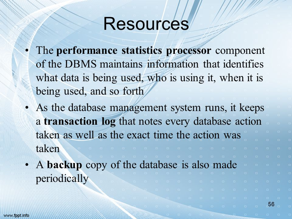Resources The performance statistics processor component of the DBMS maintains information that identifies what data is being used, who is using it, w