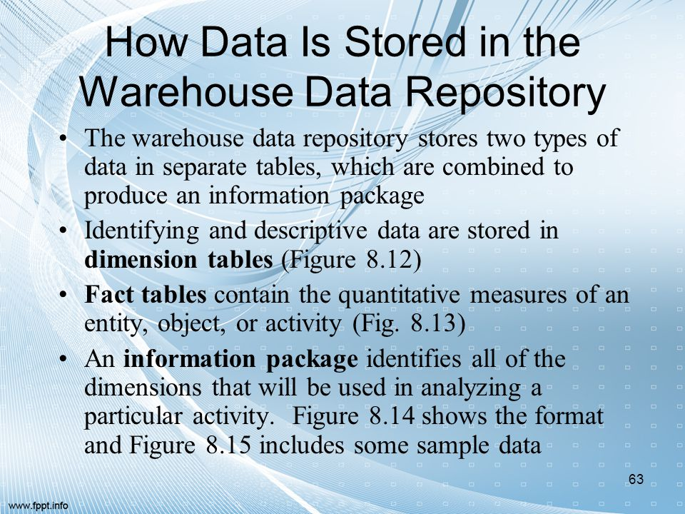 How Data Is Stored in the Warehouse Data Repository The warehouse data repository stores two types of data in separate tables, which are combined to p