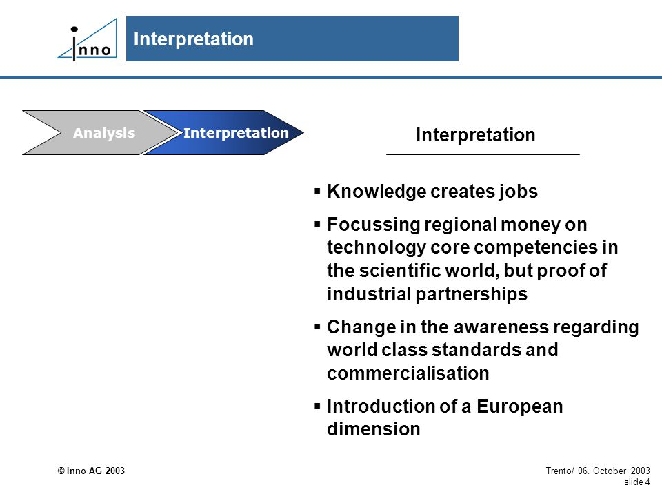 © Inno AG 2003 Trento/ 06. October 2003 slide 4 Interpretation  Knowledge creates jobs  Focussing regional money on technology core competencies in