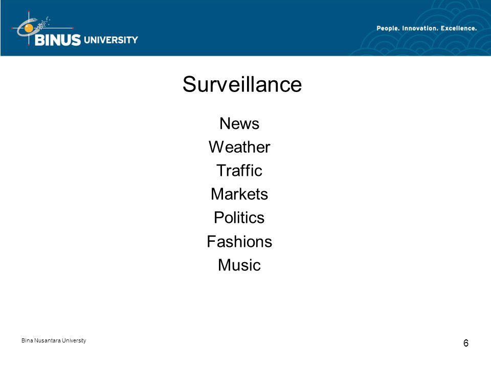 Bina Nusantara University 6 Surveillance News Weather Traffic Markets Politics Fashions Music