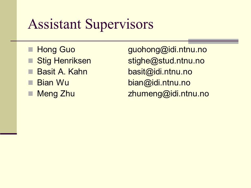 Assistant Supervisors Hong Guoguohong@idi.ntnu.no Stig Henriksenstighe@stud.ntnu.no Basit A.