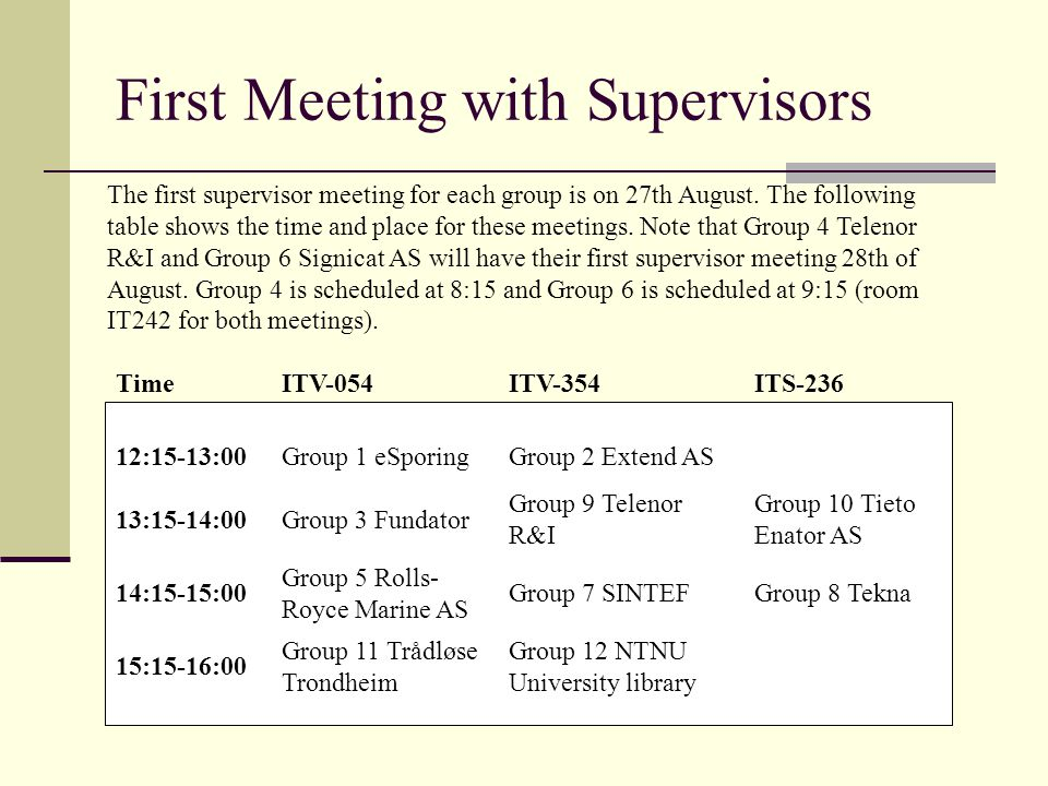 First Meeting with Supervisors The first supervisor meeting for each group is on 27th August.