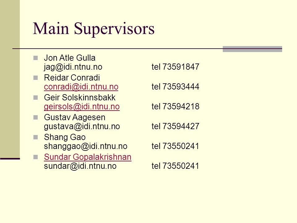 Main Supervisors Jon Atle Gulla jag@idi.ntnu.notel 73591847 Reidar Conradi conradi@idi.ntnu.no tel 73593444 conradi@idi.ntnu.no Geir Solskinnsbakk geirsols@idi.ntnu.no tel 73594218 geirsols@idi.ntnu.no Gustav Aagesen gustava@idi.ntnu.notel 73594427 Shang Gao shanggao@idi.ntnu.notel 73550241 Sundar Gopalakrishnan sundar@idi.ntnu.notel 73550241 Sundar Gopalakrishnan