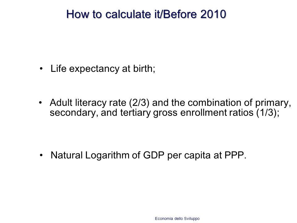 How to calculate it/Before 2010 Economia dello Sviluppo