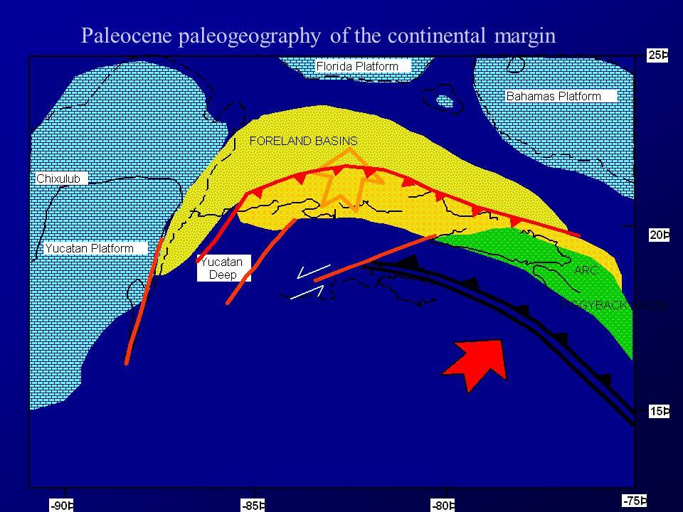 Paleocene paleogeography of the continental margin