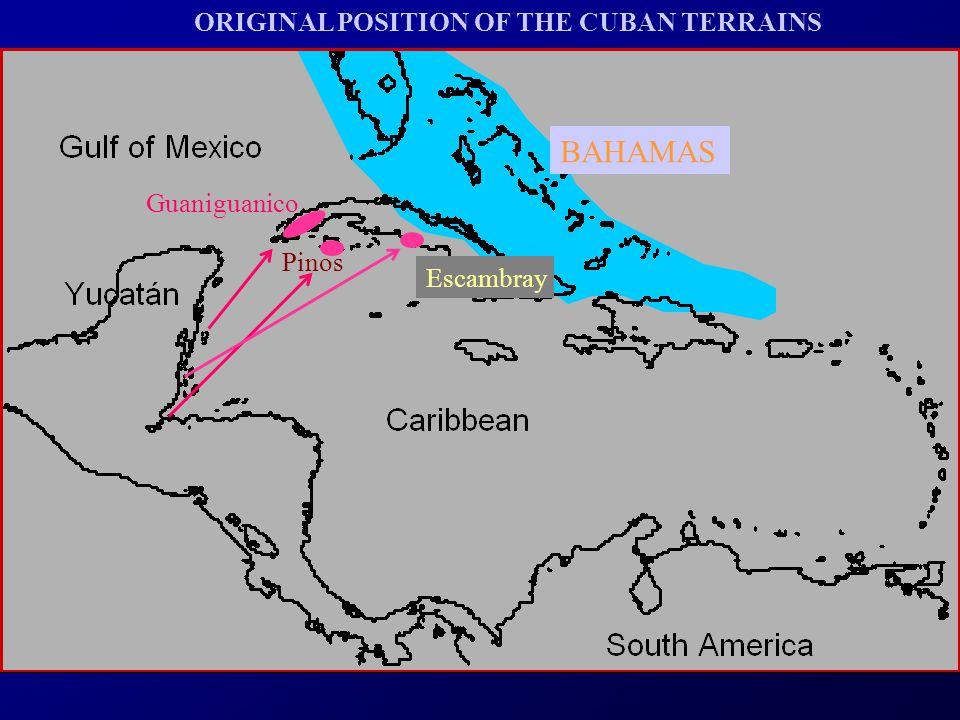 Guaniguanico Pinos Escambray ORIGINAL POSITION OF THE CUBAN TERRAINS BAHAMAS
