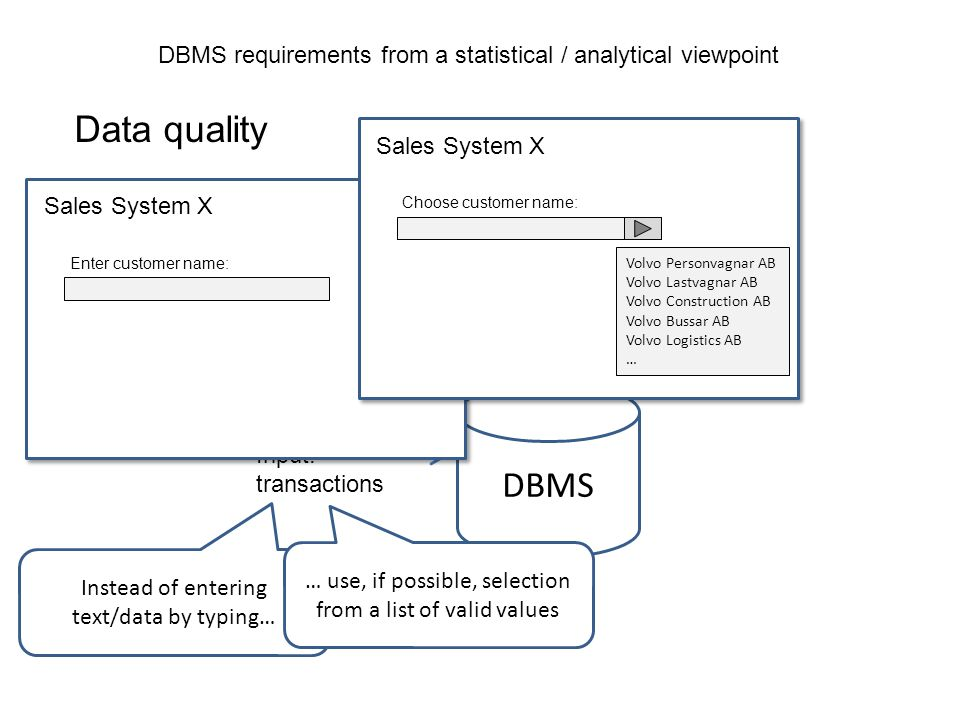 DBMS requirements from a statistical / analytical viewpoint Data quality Data types Performance Maximun information Historical data Regulation and secrecy
