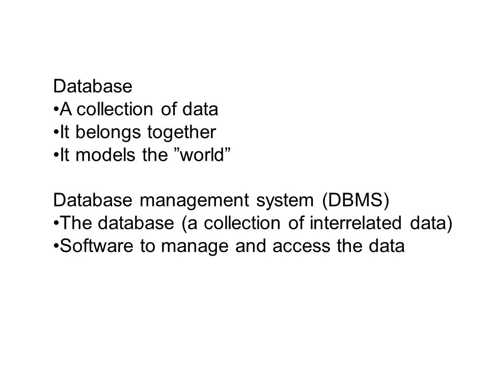 Construction of a database Per Weidenman PAR AB